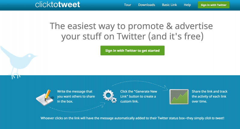 Image of clicktotweet home page
