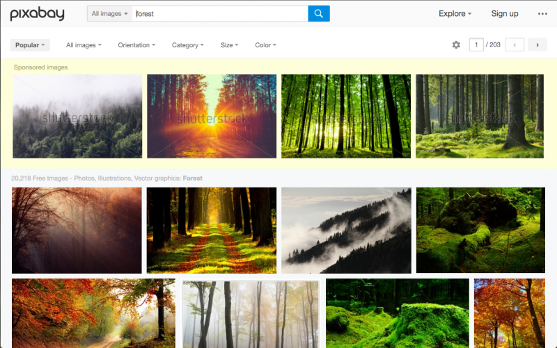Pixabay image search results