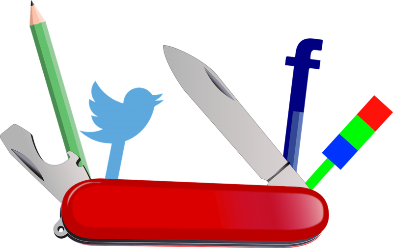 Multi-purpose knife with social media icons for tools